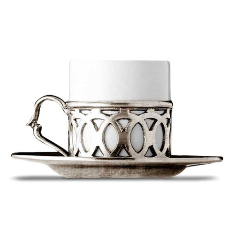 Napoli Espresso Cup & Saucer - Handcrafted in Italy - Pewter & Ceramic