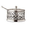 Napoli Parmesan Dish (with spoon) - 9 cm Height - Handcrafted in Italy - Pewter & Glass