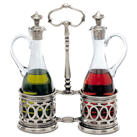 Napoli Oil & Vinegar Set - 23 cm Height - Handcrafted in Italy - Pewter & Glass