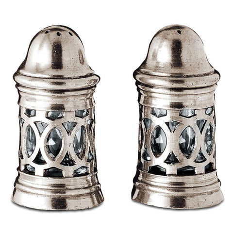 Napoli Salt & Pepper Shaker Set - 8 cm Height - Handcrafted in Italy - Pewter & Glass