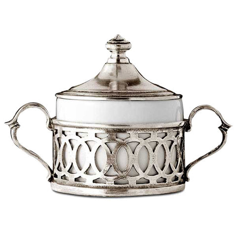 Napoli Sugar Pot - 10 cm Height - Handcrafted in Italy - Pewter & Ceramic