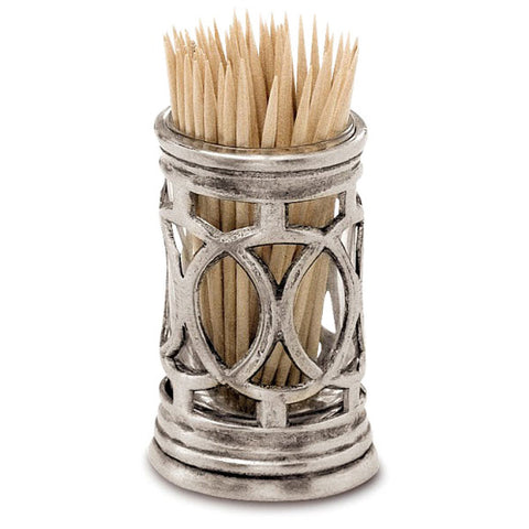 Napoli Toothpick & Cocktail Stick Holder - 6 cm Height - Handcrafted in Italy - Pewter & Glass