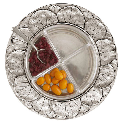 Natura Round Sectional Platter - 32 cm Diameter - Handcrafted in Italy - Pewter & Glass