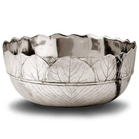 Natura Salad Bowl - 25 cm Diameter - Handcrafted in Italy - Pewter