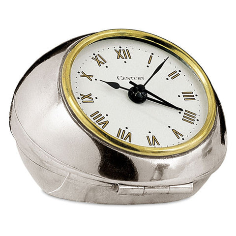 Nautilus Alarm Clock - 8.5 cm Diameter - Handcrafted in Italy - Pewter