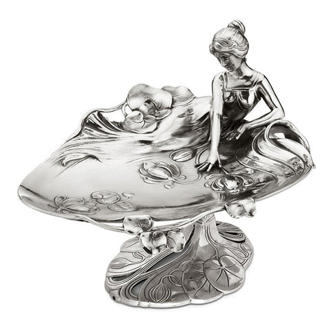 Art Nouveau-Style Ninfa Footed Tray - Young Lady & Water Lilies - 26 cm - Handcrafted in Italy - Pewter/Britannia Metal
