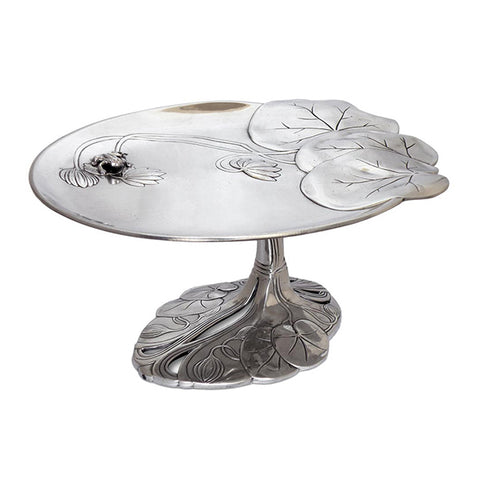 Art Nouveau-Style Ninfa Footed Tray - Frog - 26 cm - Handcrafted in Italy - Pewter/Britannia Metal