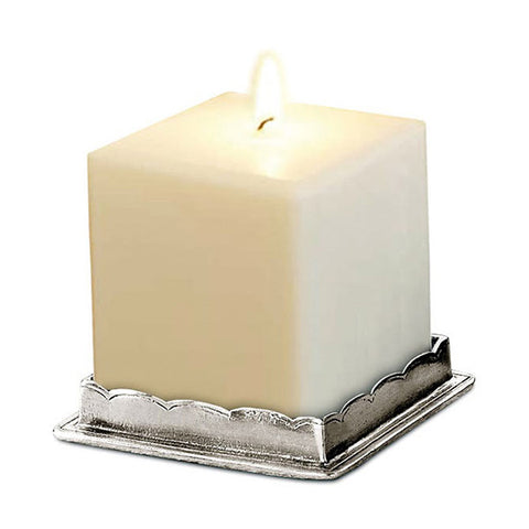 Onoro Square Candle Base - 7.5 cm - Handcrafted in Italy - Pewter