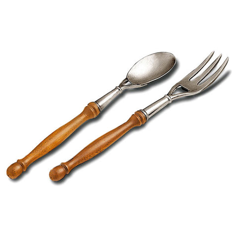 Orvieto Serving Fork & Spoon Set - 29 cm Length - Handcrafted in Italy - Pewter & Cherry Wood