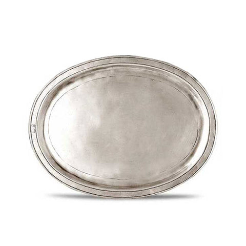 Orvieto Oval Tray - 24 cm x 18.5 cm  - Handcrafted in Italy - Pewter