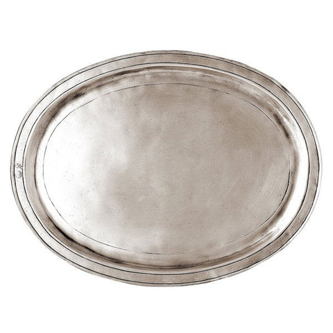Orvieto Oval Tray - 38 cm x 28 cm  - Handcrafted in Italy - Pewter