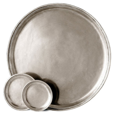 Osteria Round Tray - 33 cm Diameter - Handcrafted in Italy - Pewter