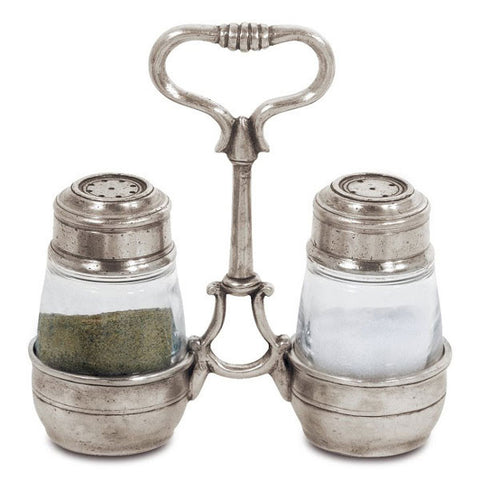 Osteria Salt & Pepper Set (with holder) - 13.5 cm Height - Handcrafted in Italy - Pewter & Crystal