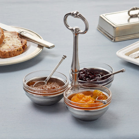 Osteria Condiment Holder (with handle, glass inserts & spoons) - 18.5 cm Diameter - Handcrafted in Italy - Pewter & Glass