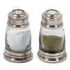 Osteria Salt & Pepper Shaker Set - 8.5 cm Height - Handcrafted in Italy - Pewter & Glass