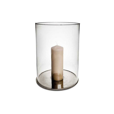 Palio Hurricane Lamp - 33 cm Height - Handcrafted in Italy - Pewter & Glass