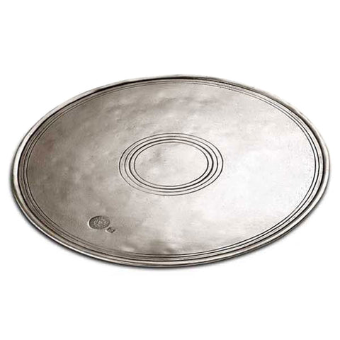 Palio Circular Placemat (Set of 2) - 25 cm Diameter - Handcrafted in Italy - Pewter