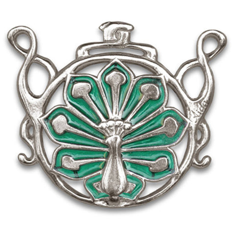 Pavone Peacock Pendant (Peridot) - 6.5 cm - Handcrafted in Italy - Pewter/Britannia Metal