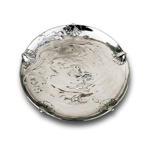 Art Nouveau-Style Pesce Round Tray - 25 cm - Handcrafted in Italy - Pewter/Britannia Metal