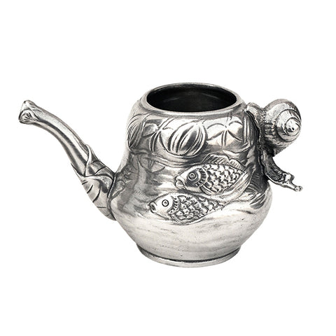 Art Nouveau-Style Pesce Milk Pitcher - 6.5 cm - Handcrafted in Italy - Pewter/Britannia Metal