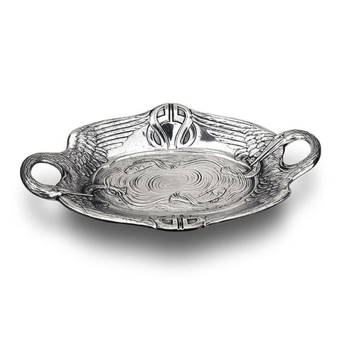 Art Nouveau-Style Pesce Oval Bowl - Pelicans & Fish - 37 cm - Handcrafted in Italy - Pewter/Britannia Metal