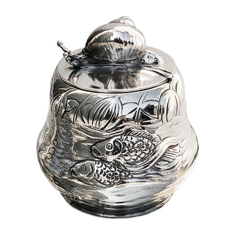 Art Nouveau-Style Pesce Sugar Pot - 9.5 cm - Handcrafted in Italy - Pewter/Britannia Metal