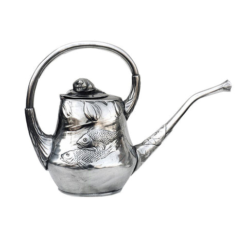 Art Nouveau-Style Pesce Tea Pot - 20.5 cm - Handcrafted in Italy - Pewter/Britannia Metal