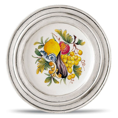 Piemonte Decorative Plate - 23 cm Diameter -  Handcrafted in Italy - Pewter & Ceramic