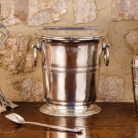 Piemonte Ice Bucket with Lid - 19 cm Diameter - Handcrafted in Italy - Pewter