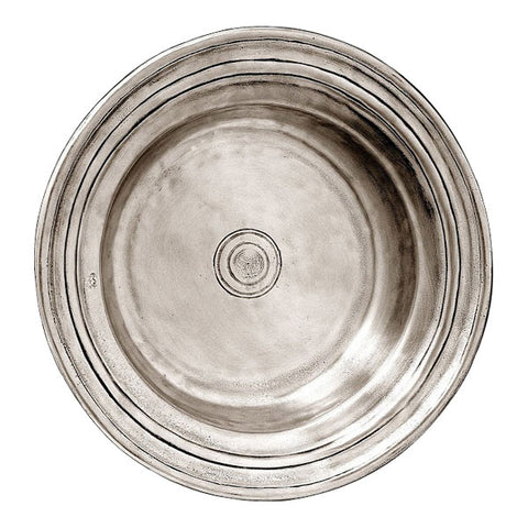 Piemonte Round Incised Bowl - 34 cm Diameter - Handcrafted in Italy - Pewter
