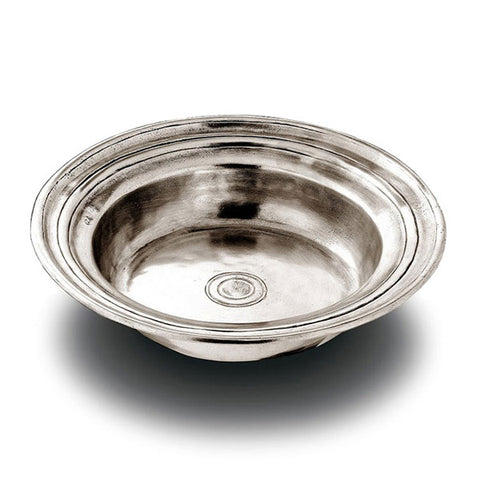 Piemonte Round Incised Bowl - 26.5 cm Diameter - Handcrafted in Italy - Pewter