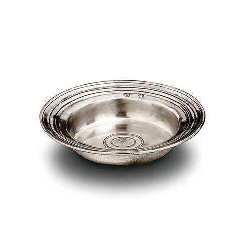Piemonte Round Incised Bowl - 16 cm Diameter - Handcrafted in Italy - Pewter
