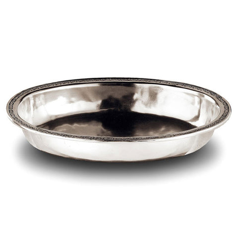 Pompei Oval Bowl - 37 cm x 26 cm - Handcrafted in Italy - Pewter
