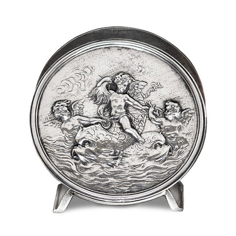 Art Nouveau-Style Putto Cherub & Dolphins Napkin Holder - Handcrafted in Italy - Pewter/Britannia Metal