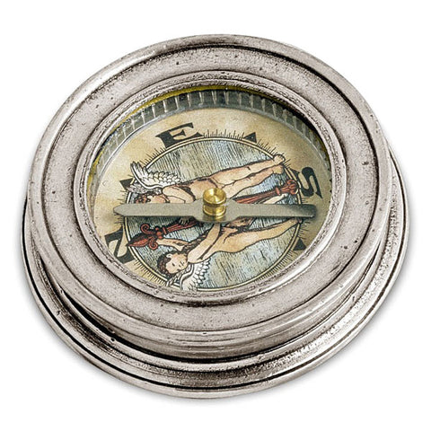 Polaris Desk Compass - 6.5 cm Diameter - Handcrafted in Italy - Pewter & Glass