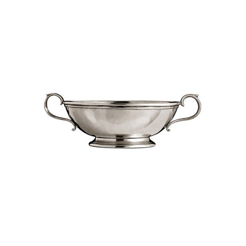 Ravenna Bowl (with handles) - Diameter 13 cm - Handcrafted in Italy - Pewter