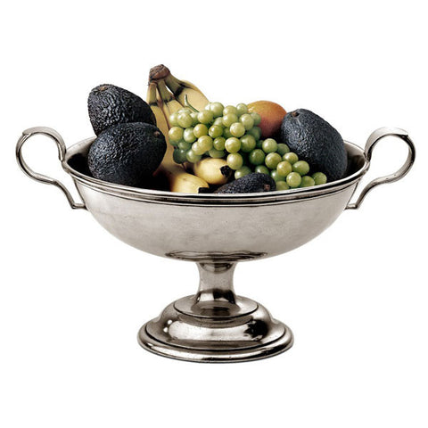 Ravenna Footed Bowl (with handles) - Diameter 25 cm - Handcrafted in Italy - Pewter