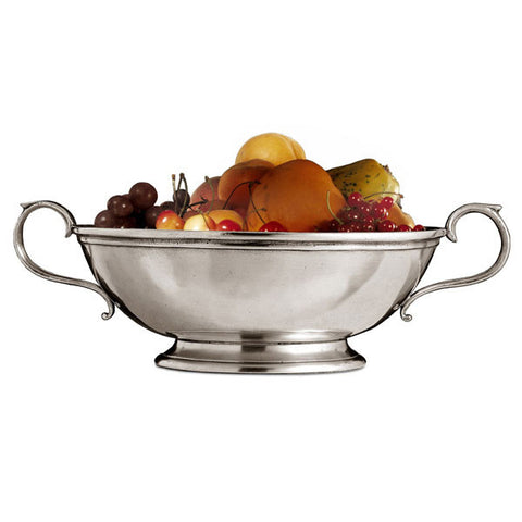 Ravenna Bowl (with handles) - Diameter 25 cm - Handcrafted in Italy - Pewter