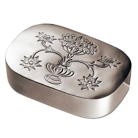 Regina Lidded Box - Engraved - 12 cm x 8 cm - Handcrafted in Italy - Pewter