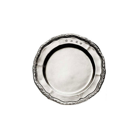 Rinascimento Georgian-Style Edged Plate (Set of 2) - 14.5 cm Diameter - Handcrafted in Italy - Pewter