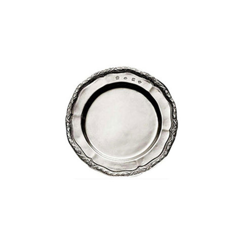 Rinascimento Georgian-Style Edged Plate (Set of 2) - 12 cm Diameter - Handcrafted in Italy - Pewter