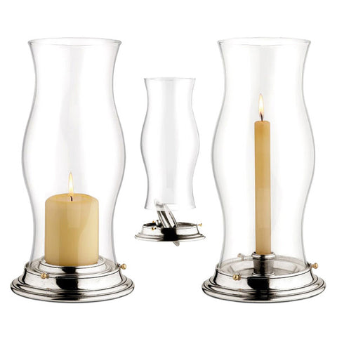 Rita Convertible Hurricane Lamp - 32.5 cm Diameter - Handcrafted in Italy - Pewter & Glass