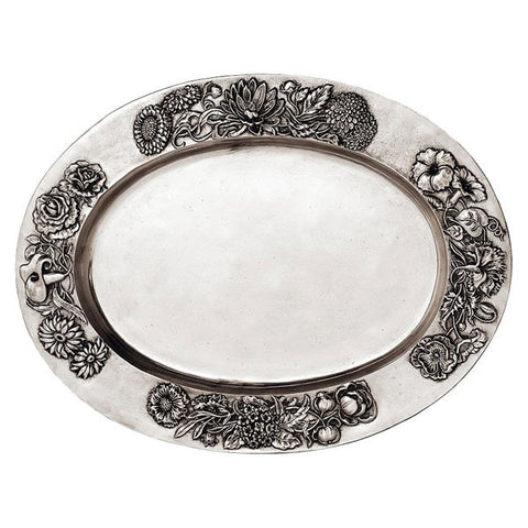 Riviera Oval Tray - 44 cm x 33 cm - Handcrafted in Italy - Pewter