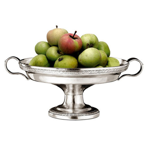 Roma Round Footed Bowl (with handles) - 29 cm Diameter - Handcrafted in Italy - Pewter