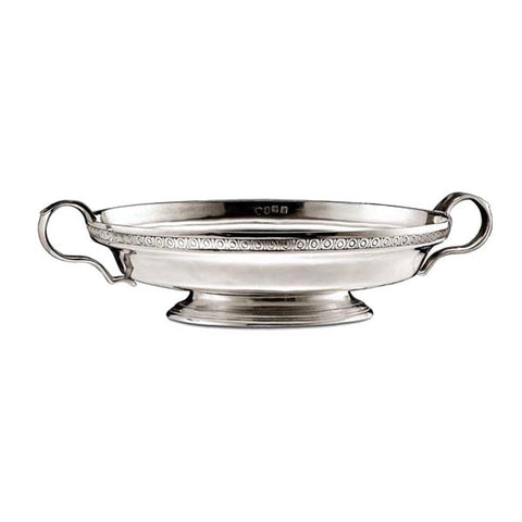 Roma Round Bowl (with handles) - 29 cm Diameter - Handcrafted in Italy - Pewter