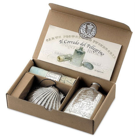 San Giacomo Pilgrim's Set - Flask, Parchment & Shell - Handcrafted in Italy - Pewter