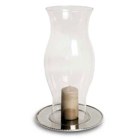 San Marco Hurricane Lamp - 50 cm Height - Handcrafted in Italy - Pewter & Glass
