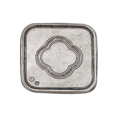 San Pietro Square Coaster (Set of 2) - 9.5 cm x 9.5 cm - Handcrafted in Italy - Pewter