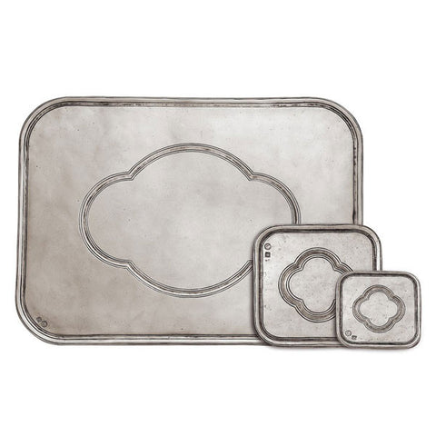 San Pietro Rectangular Placemat - 39 cm x 29 cm - Handcrafted in Italy - Pewter