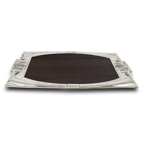 Art Nouveau-Style Secession Wood Inlay Tray - 51 cm - Handcrafted in Italy - Pewter/Britannia Metal & Cherry Wood